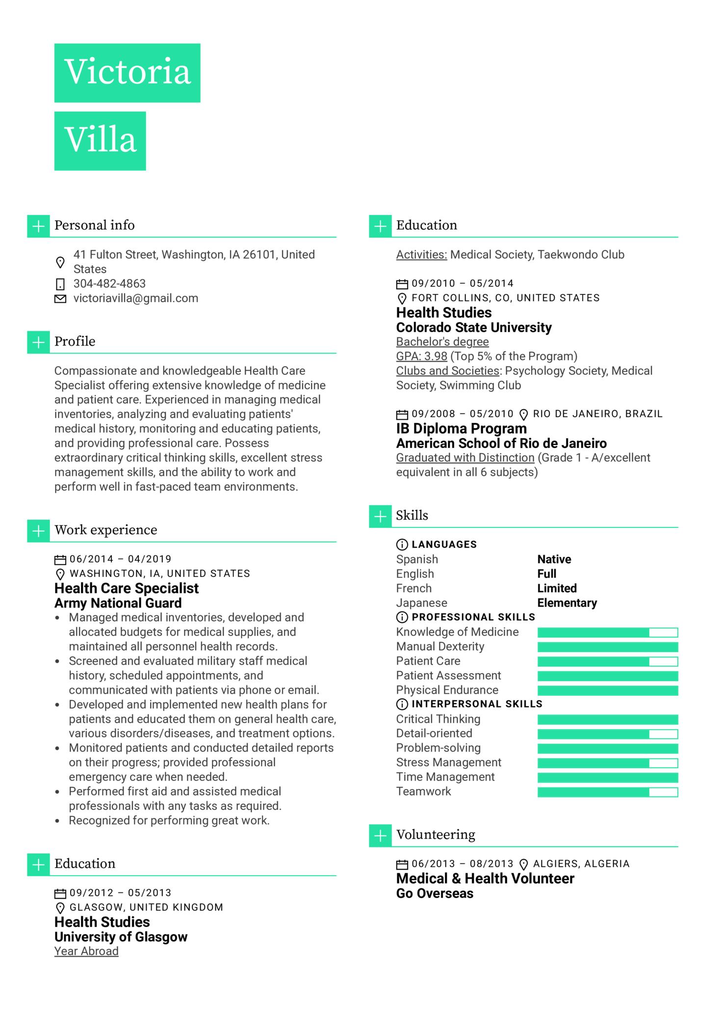 Healthcare Specialist Resume Example (parte 1)