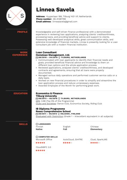 Loan Consultant Resume Sample