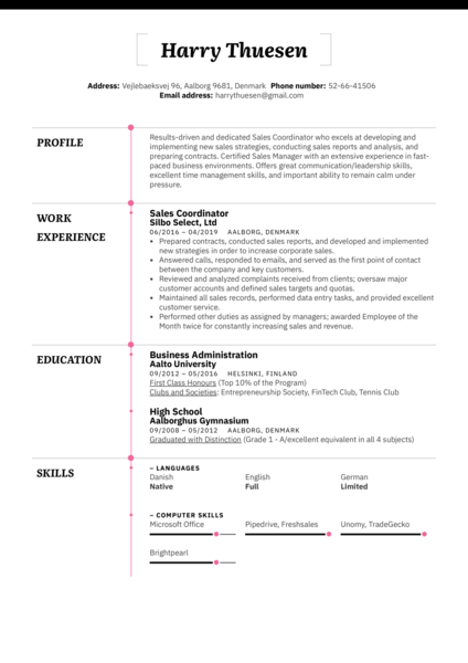 Sales Coordinator Resume Example