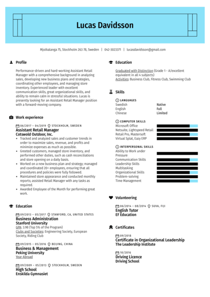 Assistant Retail Manager Resume Sample