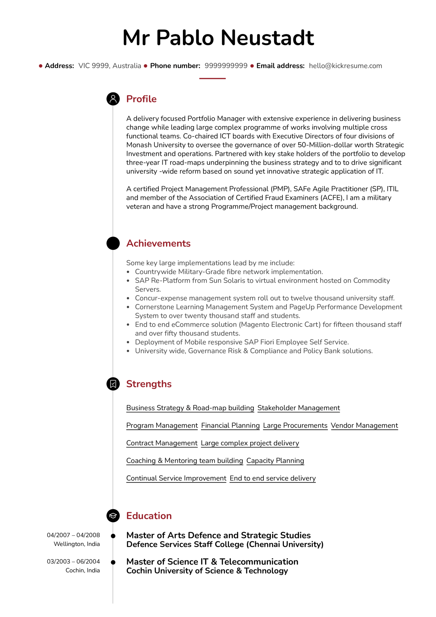 Senior Project Manager Resume Sample (parte 1)