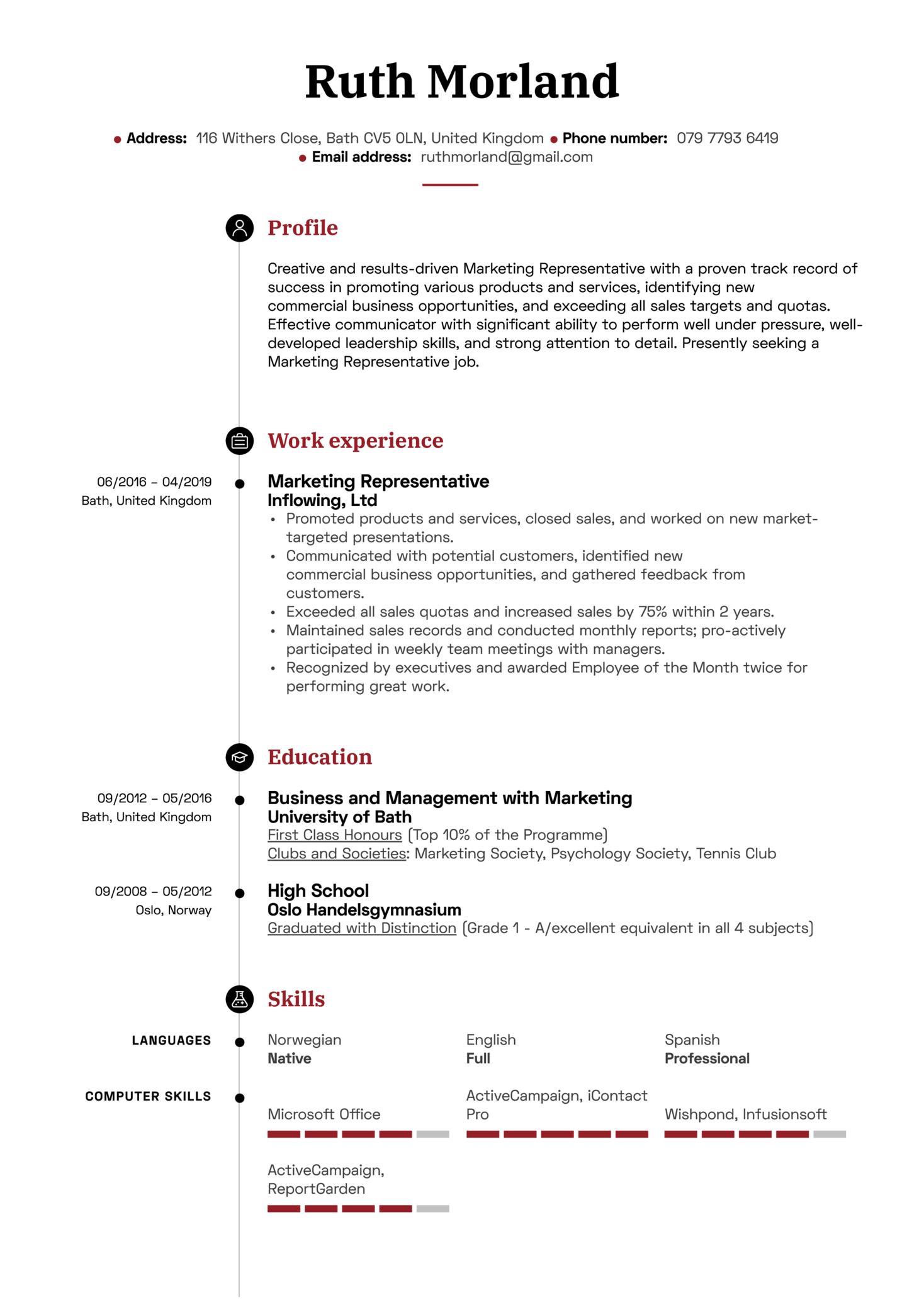Marketing Representative Resume Sample (parte 1)