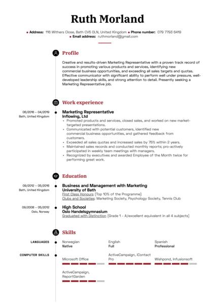 Marketing Representative Resume Sample