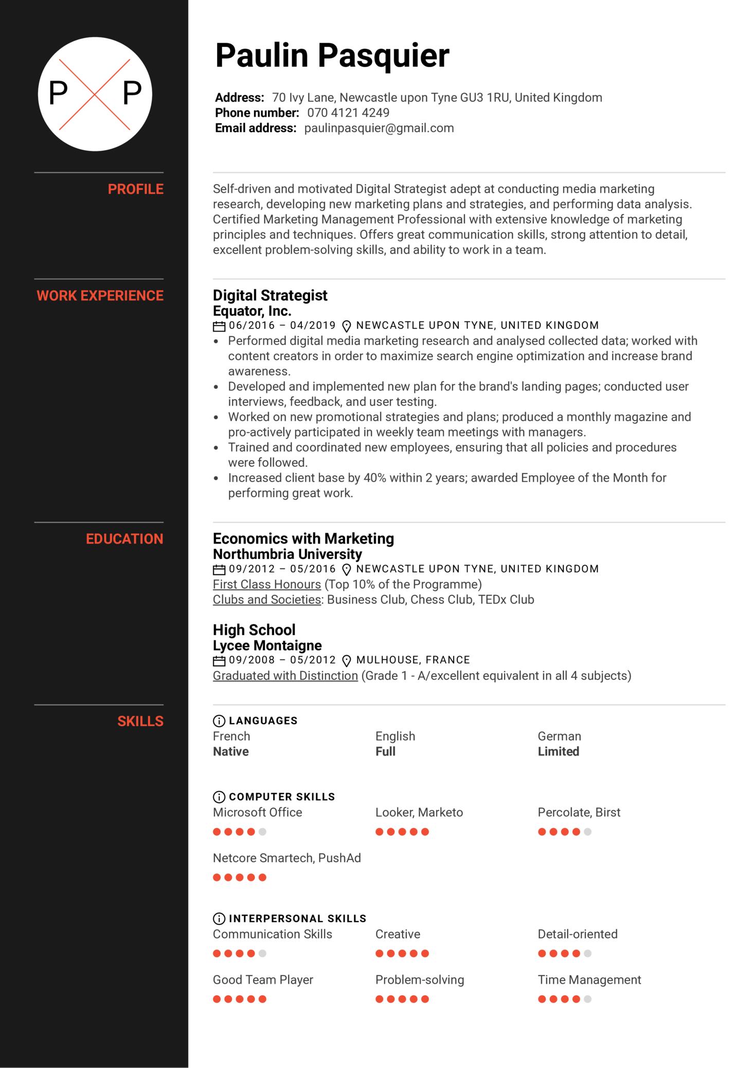 Digital Strategist Resume Example (Part 1)