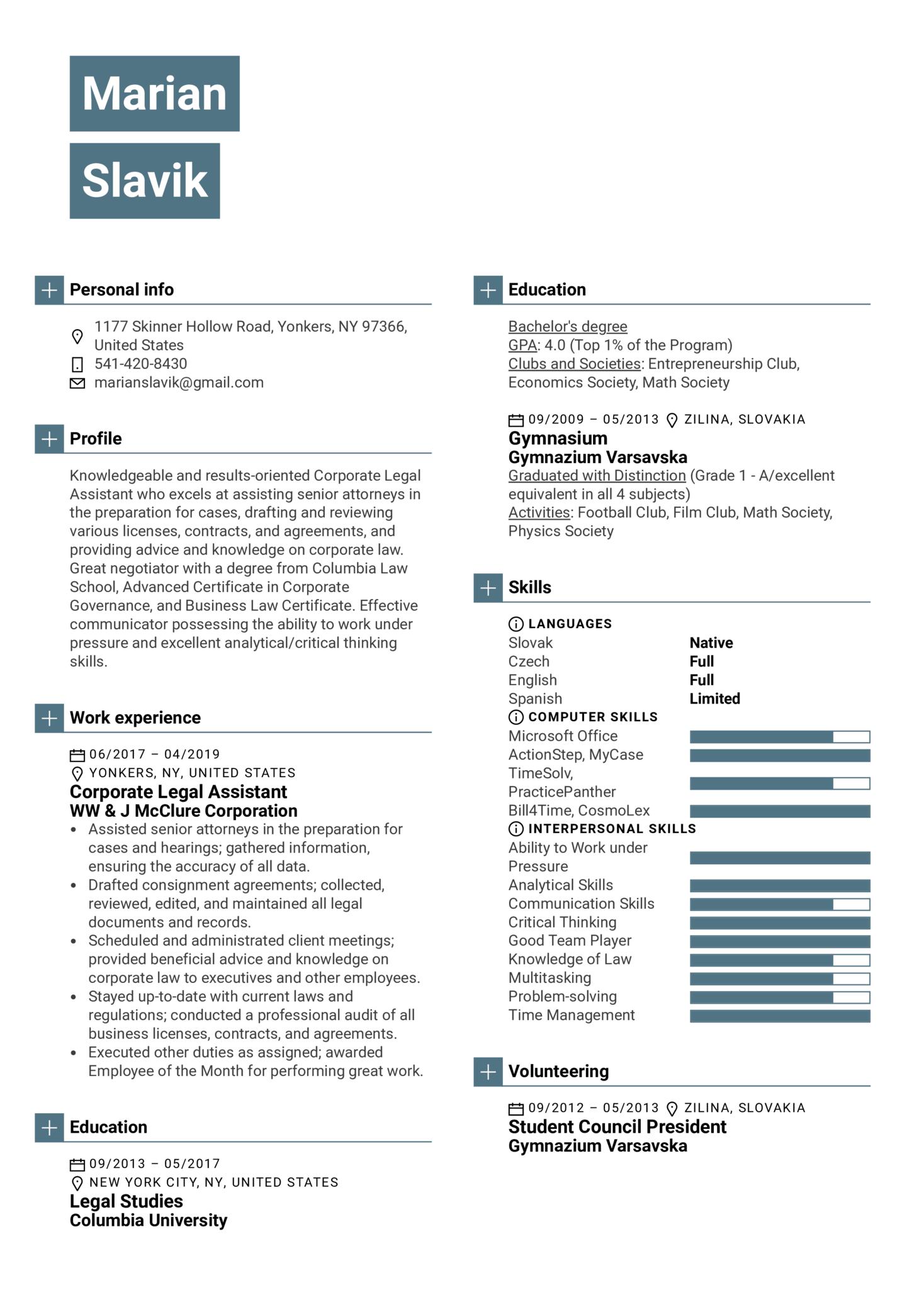 Corporate Legal Assistant Resume Sample (Part 1)