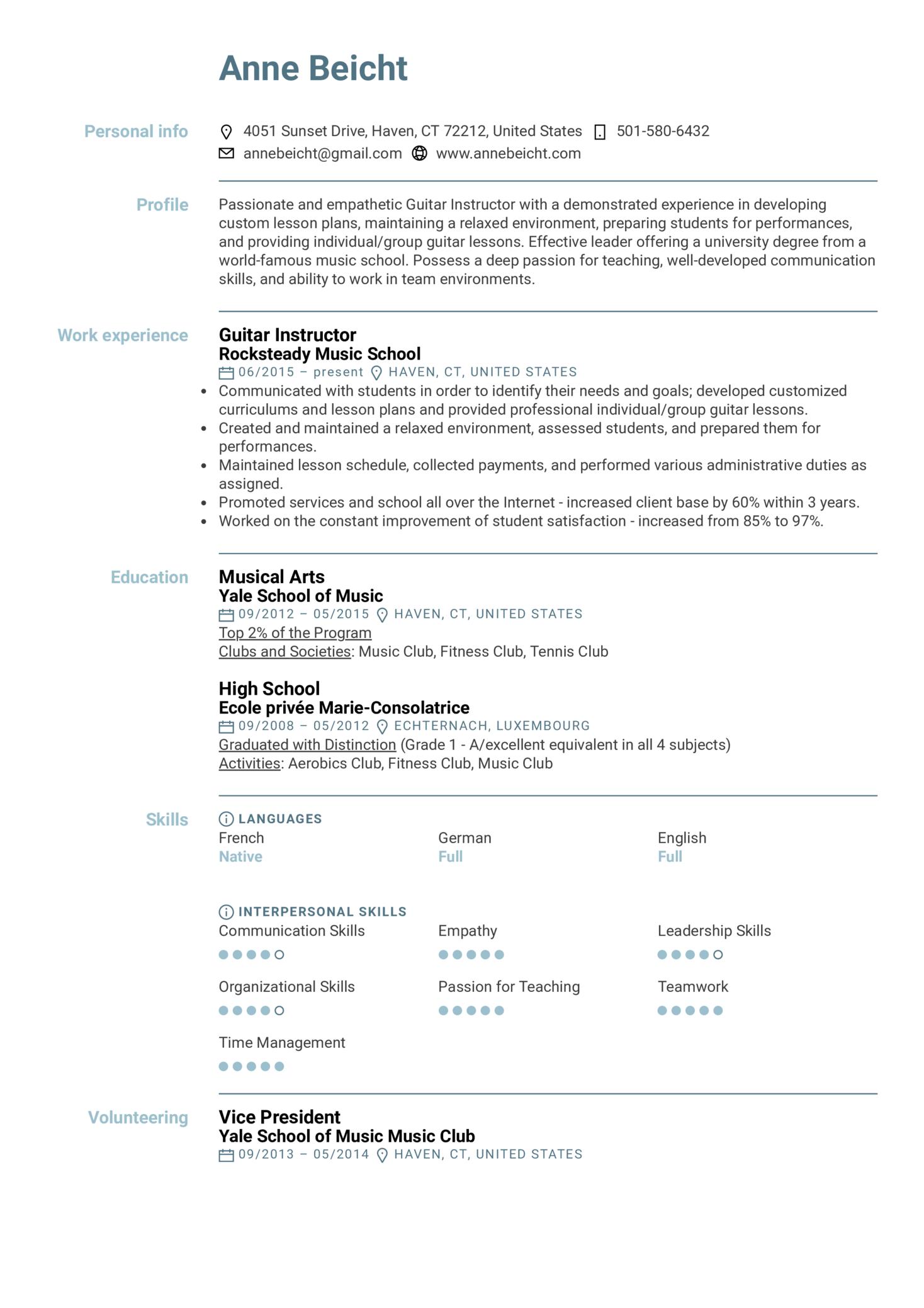 Guitar Instructor Resume Example (časť 1)