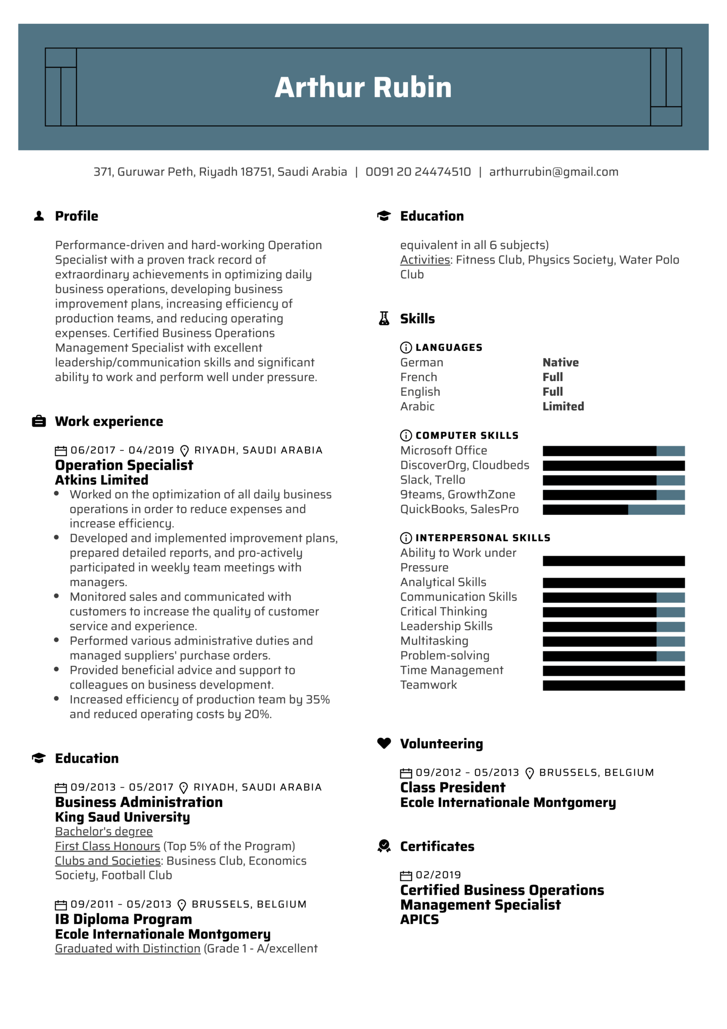 Operation Specialist Resume Example (Part 1)