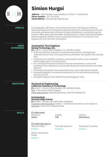 Automation Test Engineer Resume Sample