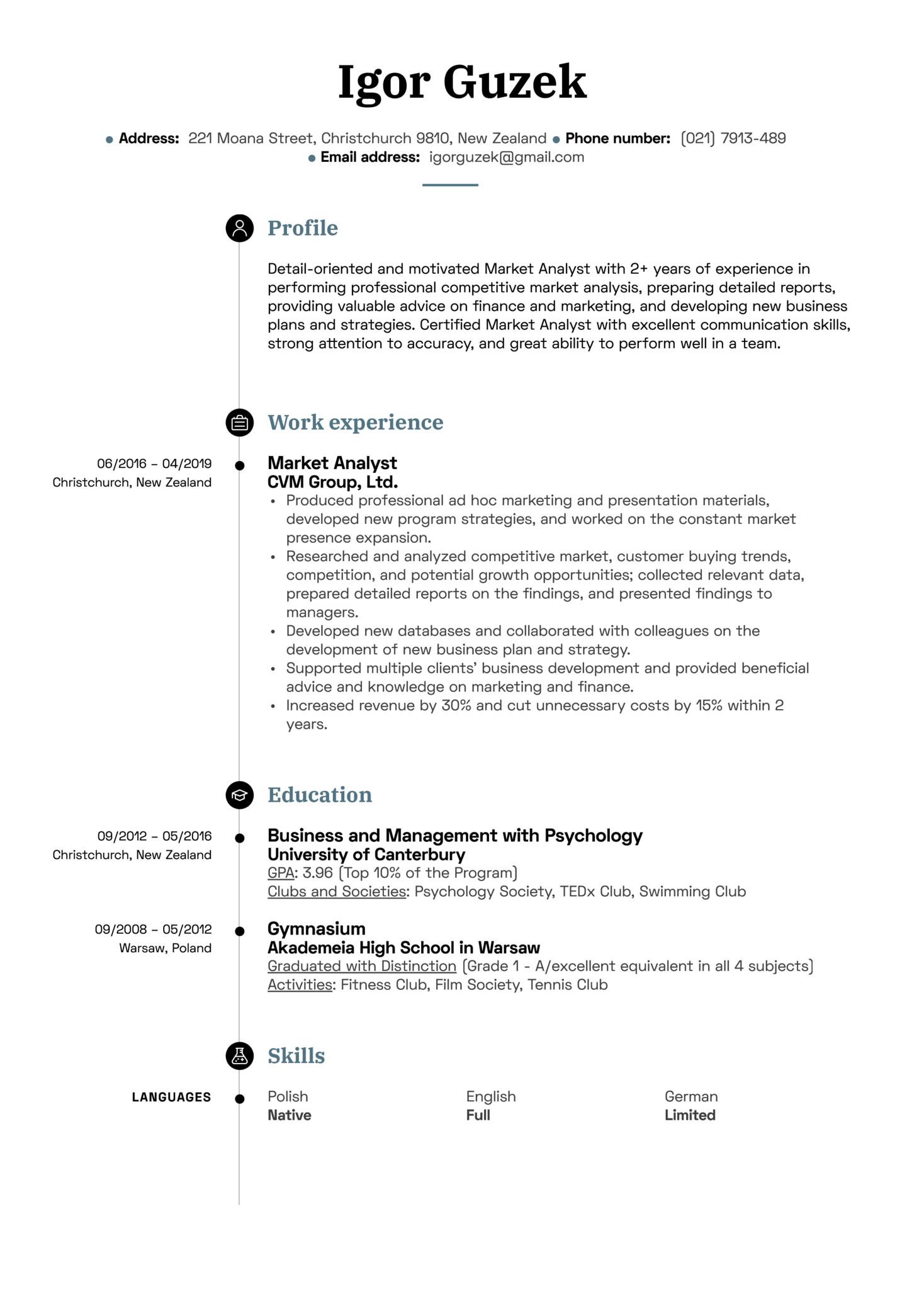 Market Analyst Resume Sample (Part 1)