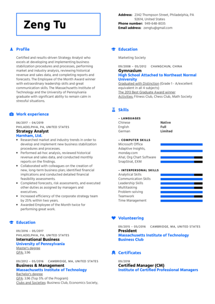 Strategy Analyst Resume Sample