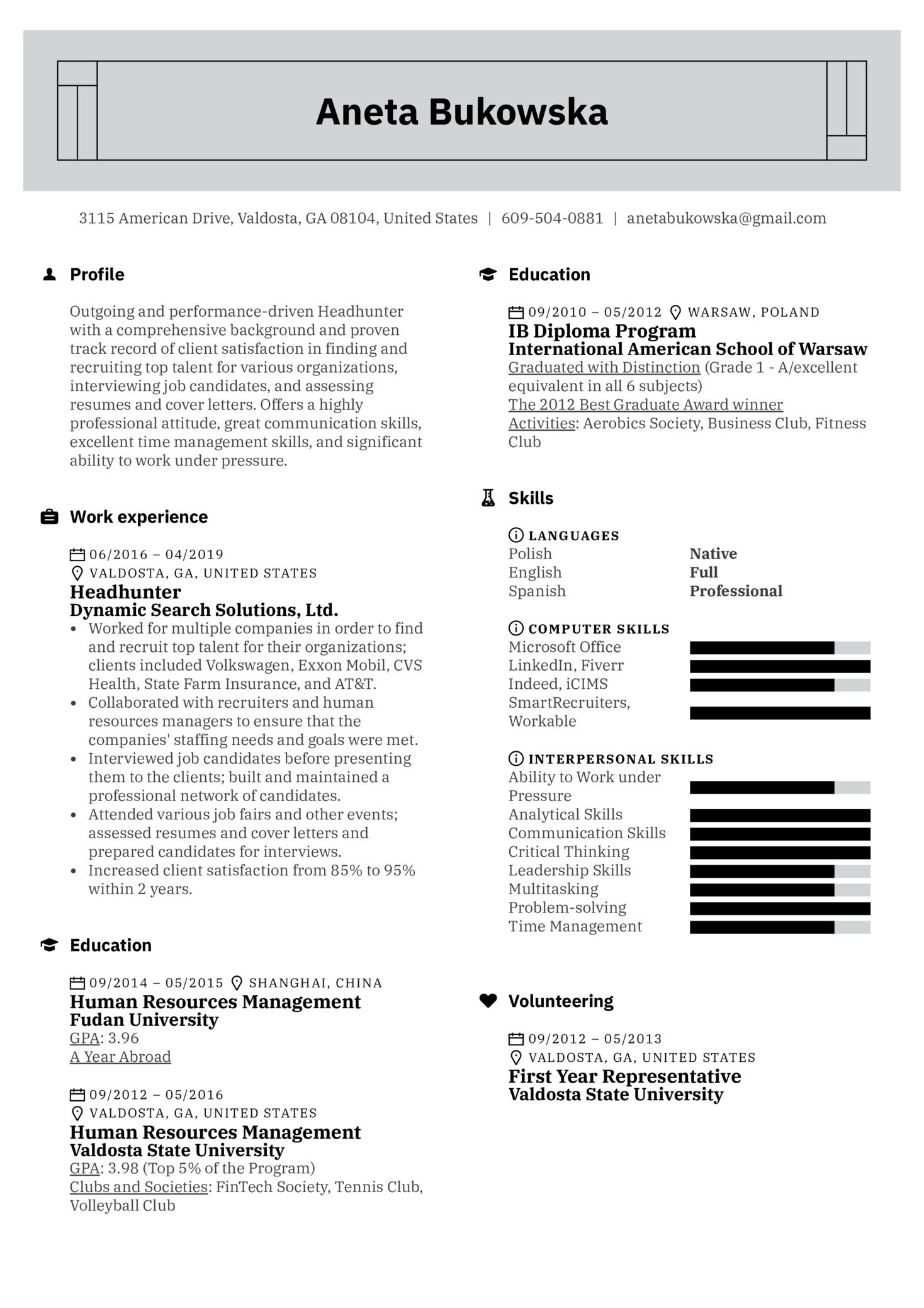 Headhunter Resume Example (časť 1)