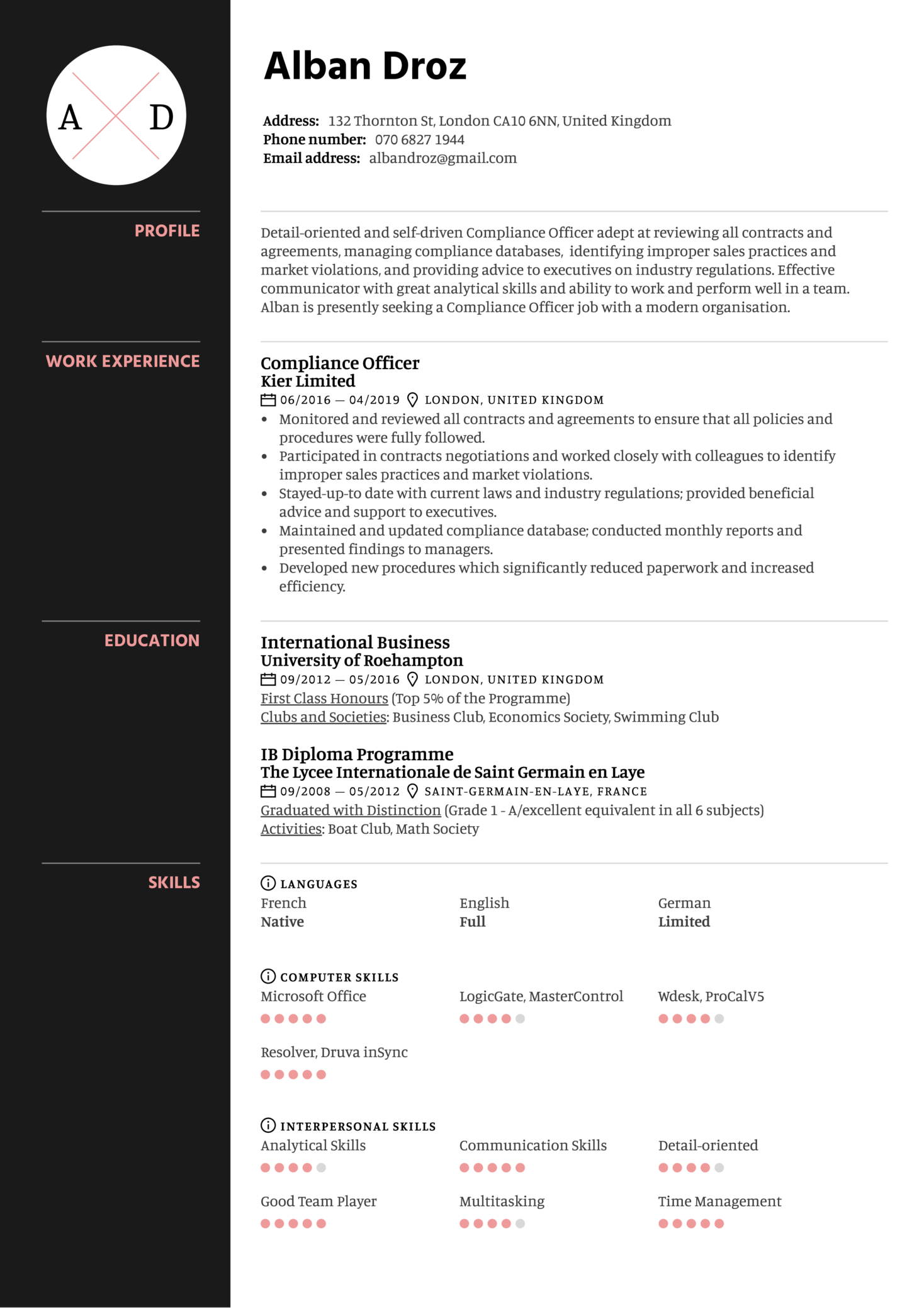 Compliance Officer Resume Template (Part 1)