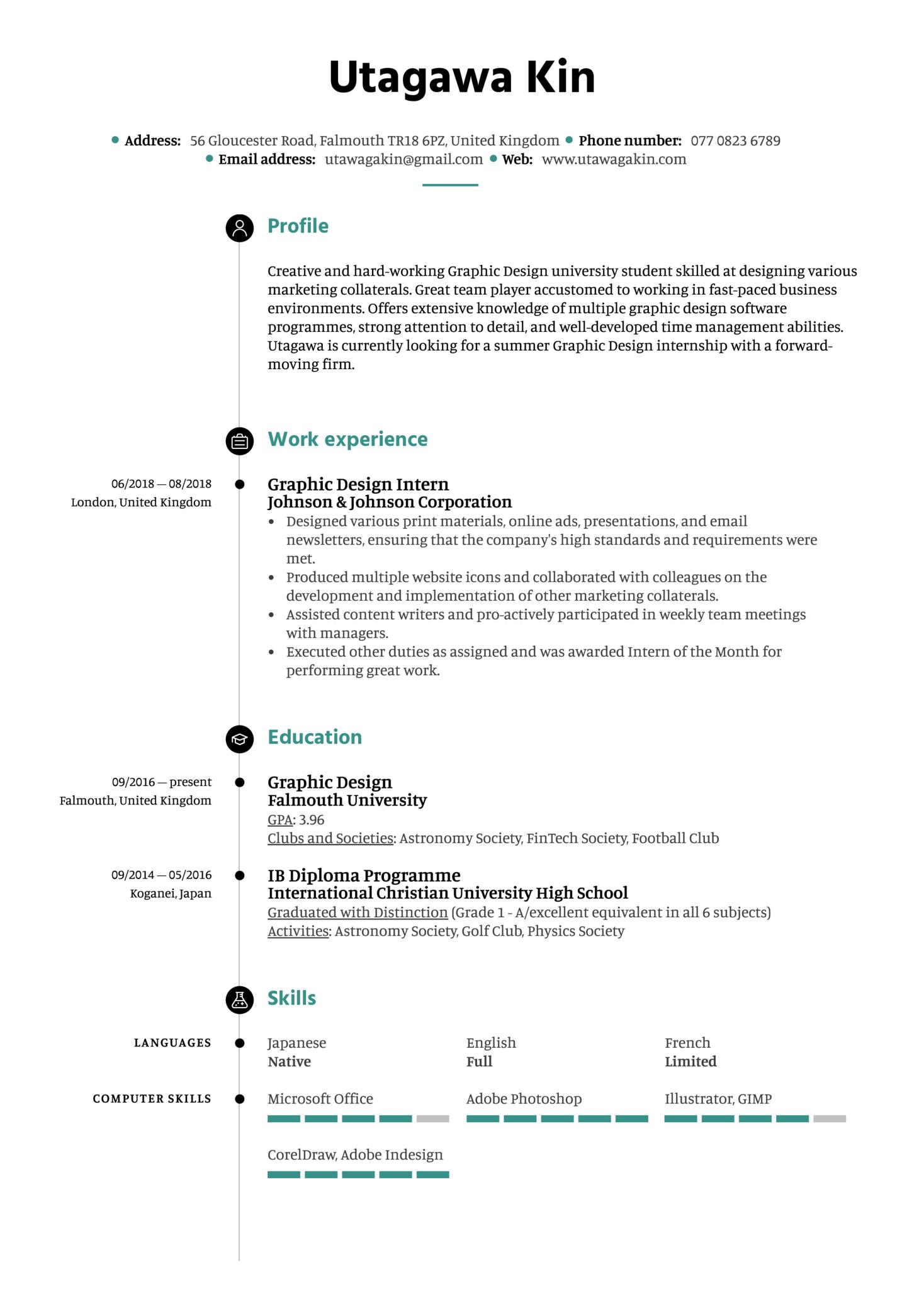 Graphic Design Intern Resume Example (Part 1)