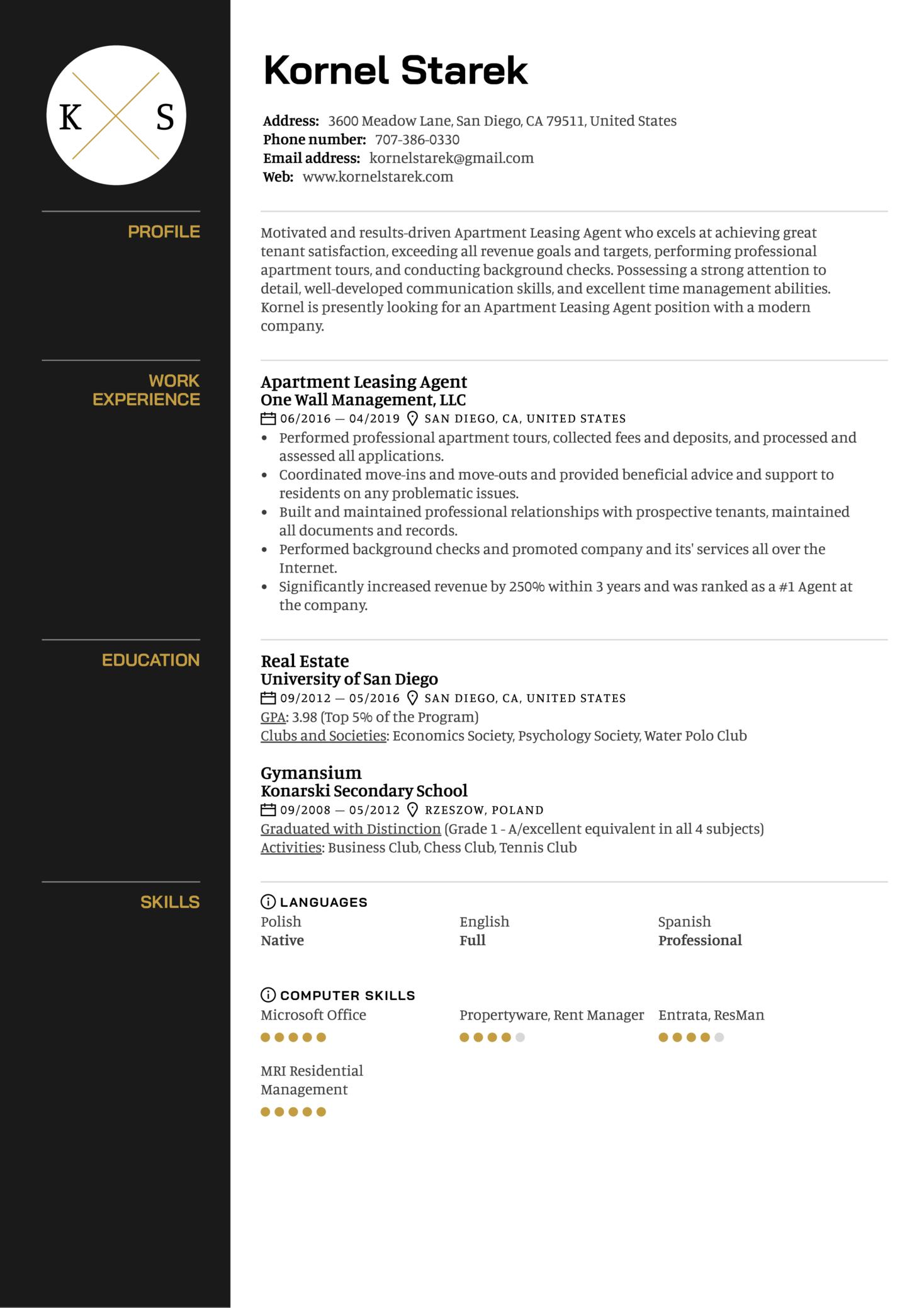 Apartment Leasing Agent Resume Sample (Parte 1)