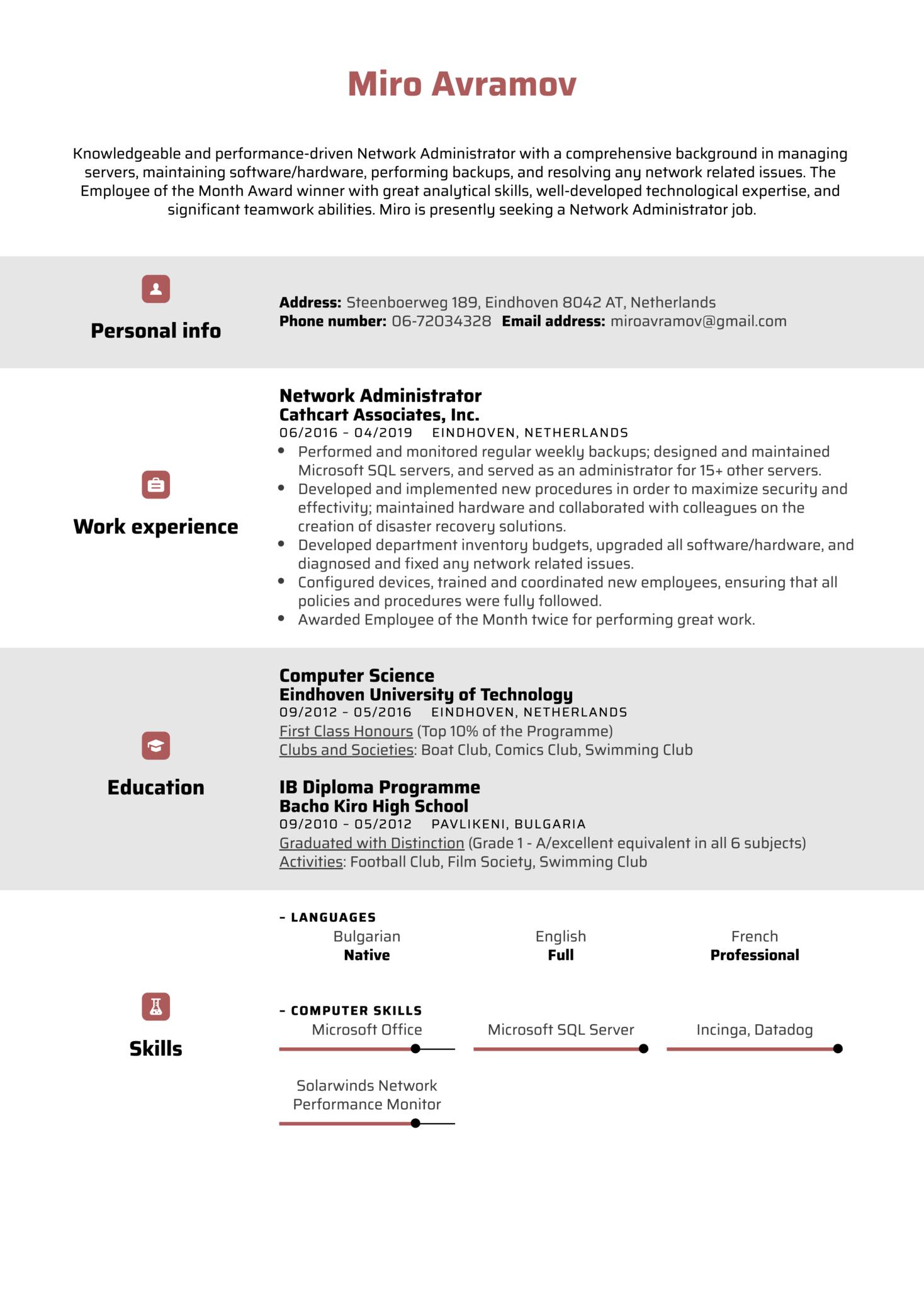 Network Administrator Resume Sample (Part 1)