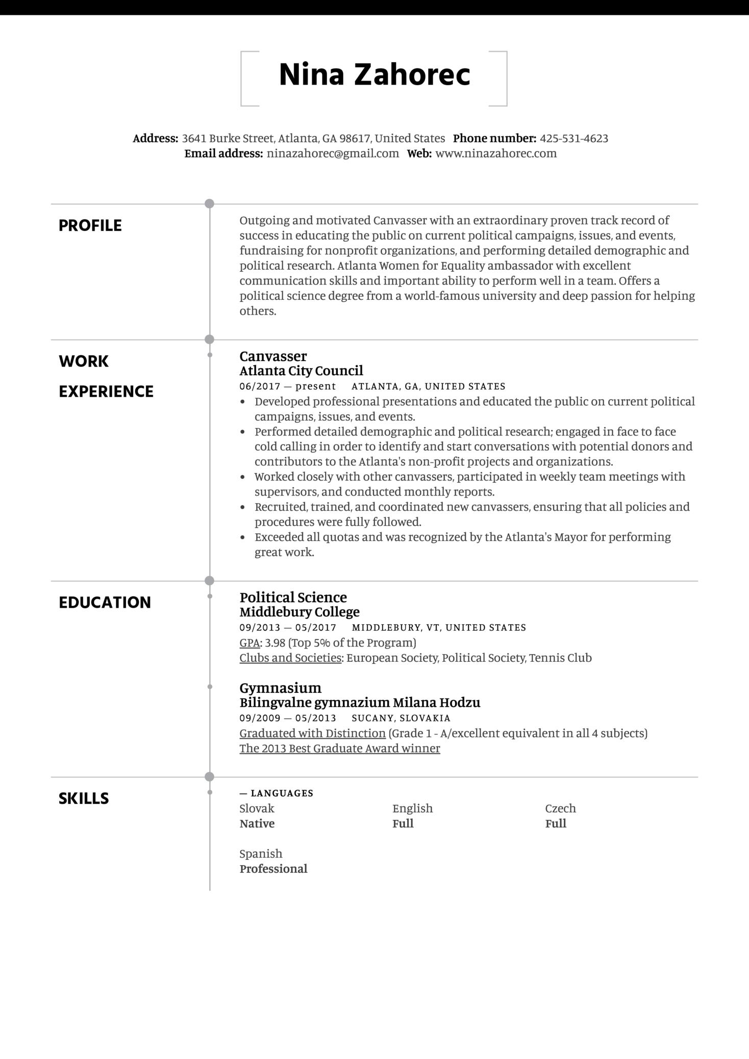 Canvasser Resume Sample (Part 1)