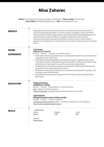 Canvasser Resume Sample