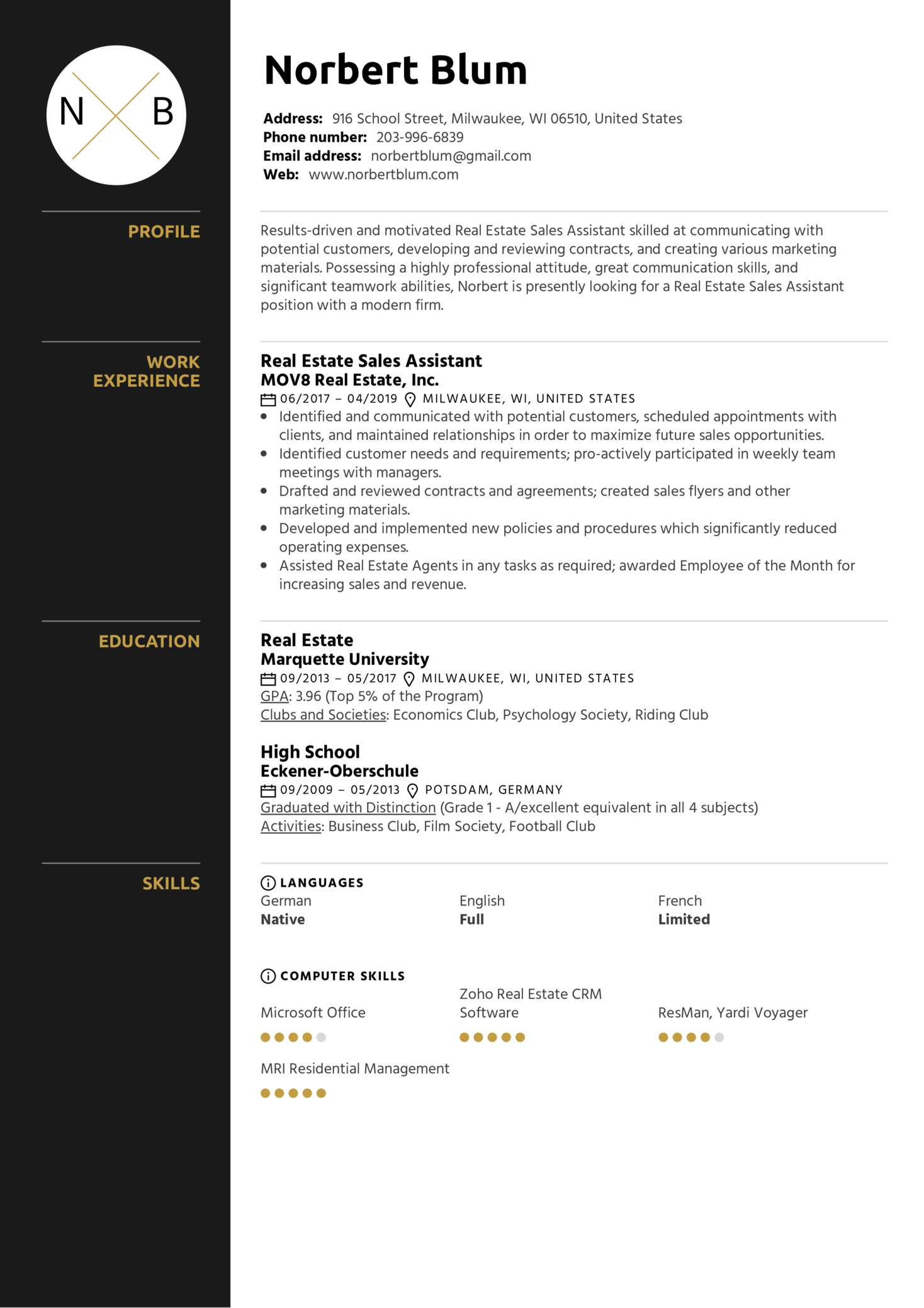 Real Estate Sales Assistant Resume Example (Part 1)