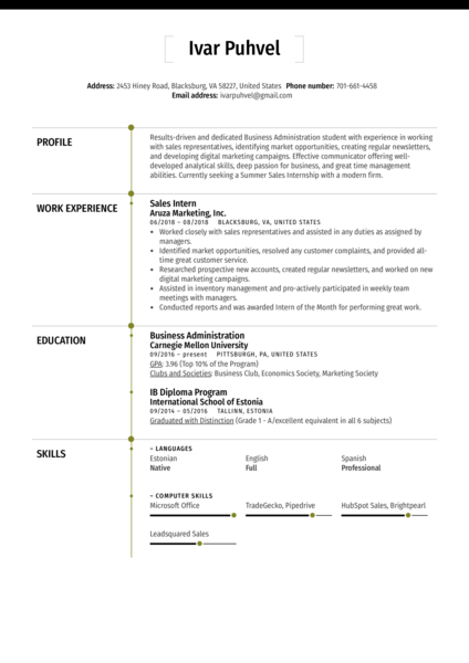 Sales Intern Resume Sample