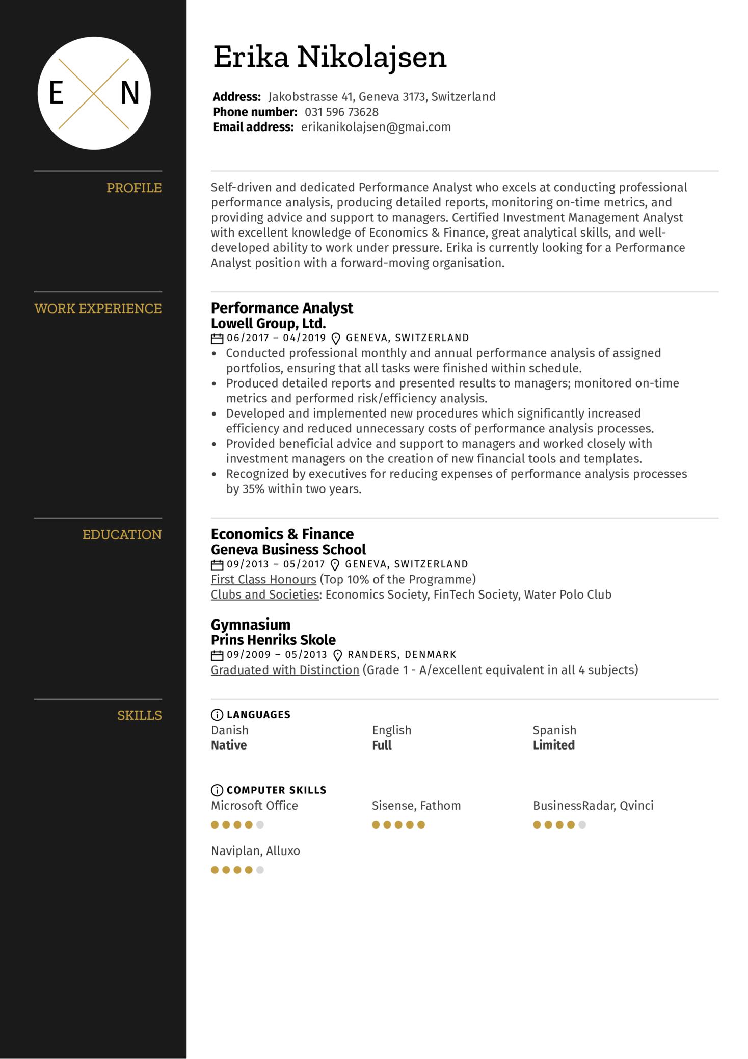 Performance Analyst Resume Sample (Part 1)