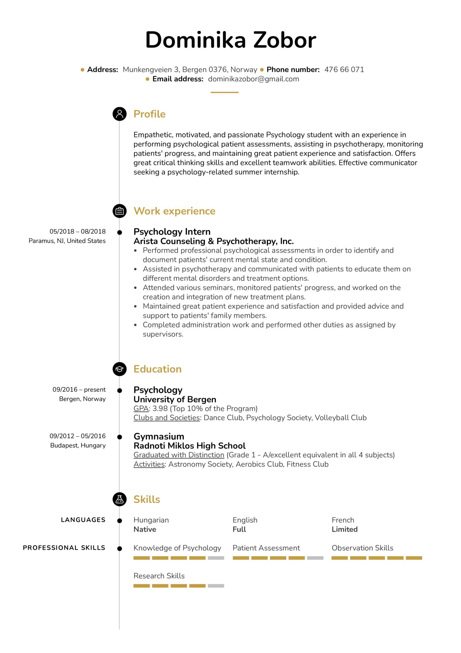 Psychology Intern Resume Sample (časť 1)