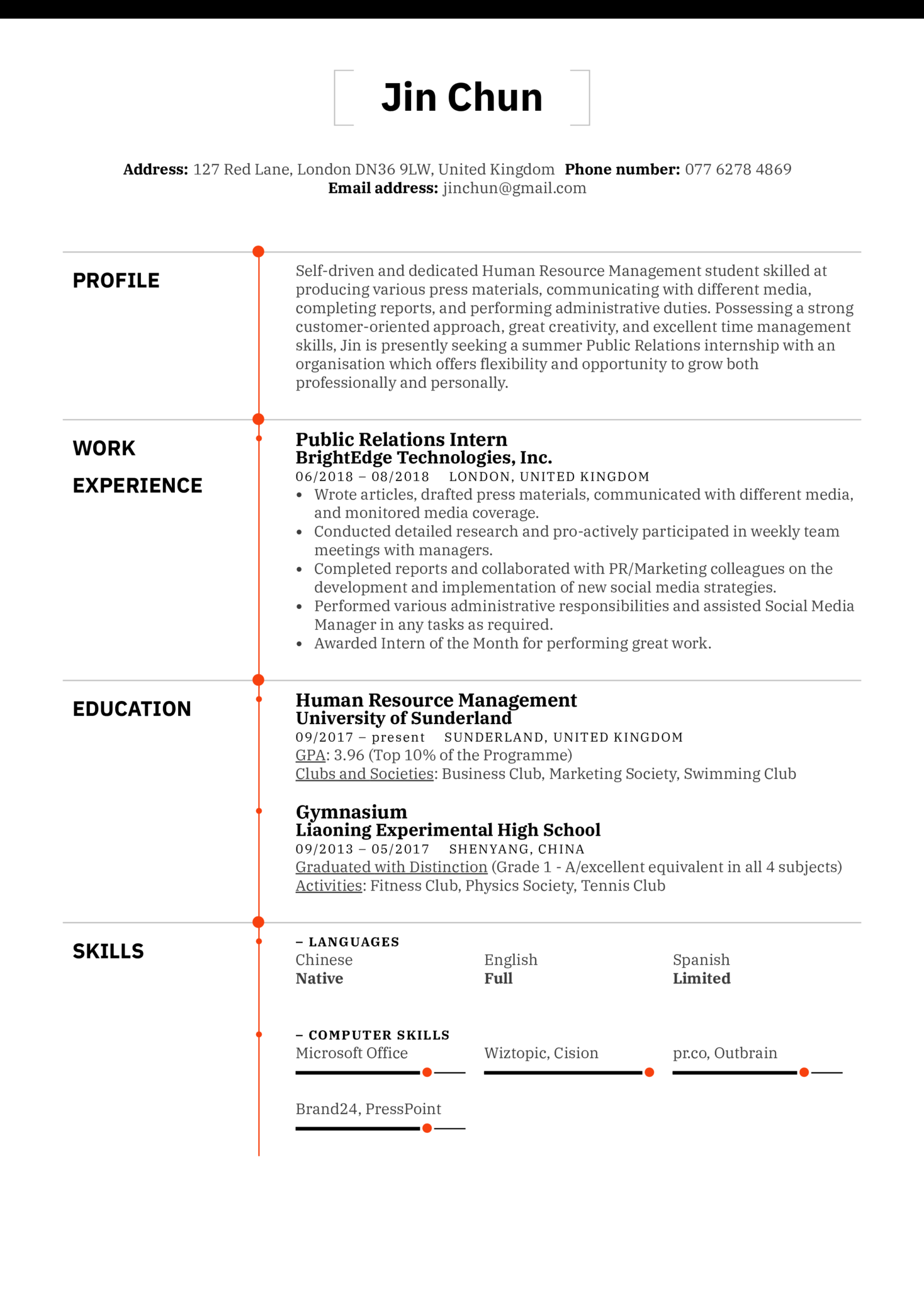 Public Relations Intern Resume Example (parte 1)