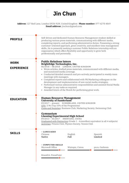 Public Relations Intern Resume Example