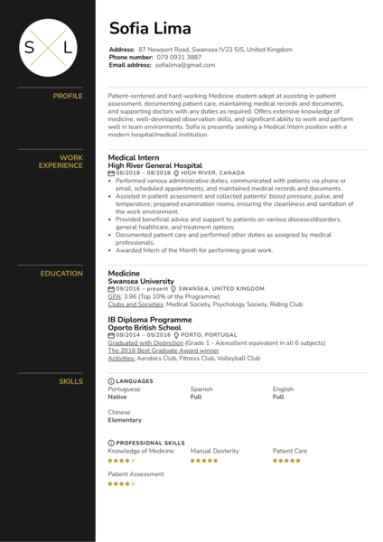 Medical Intern Resume Sample