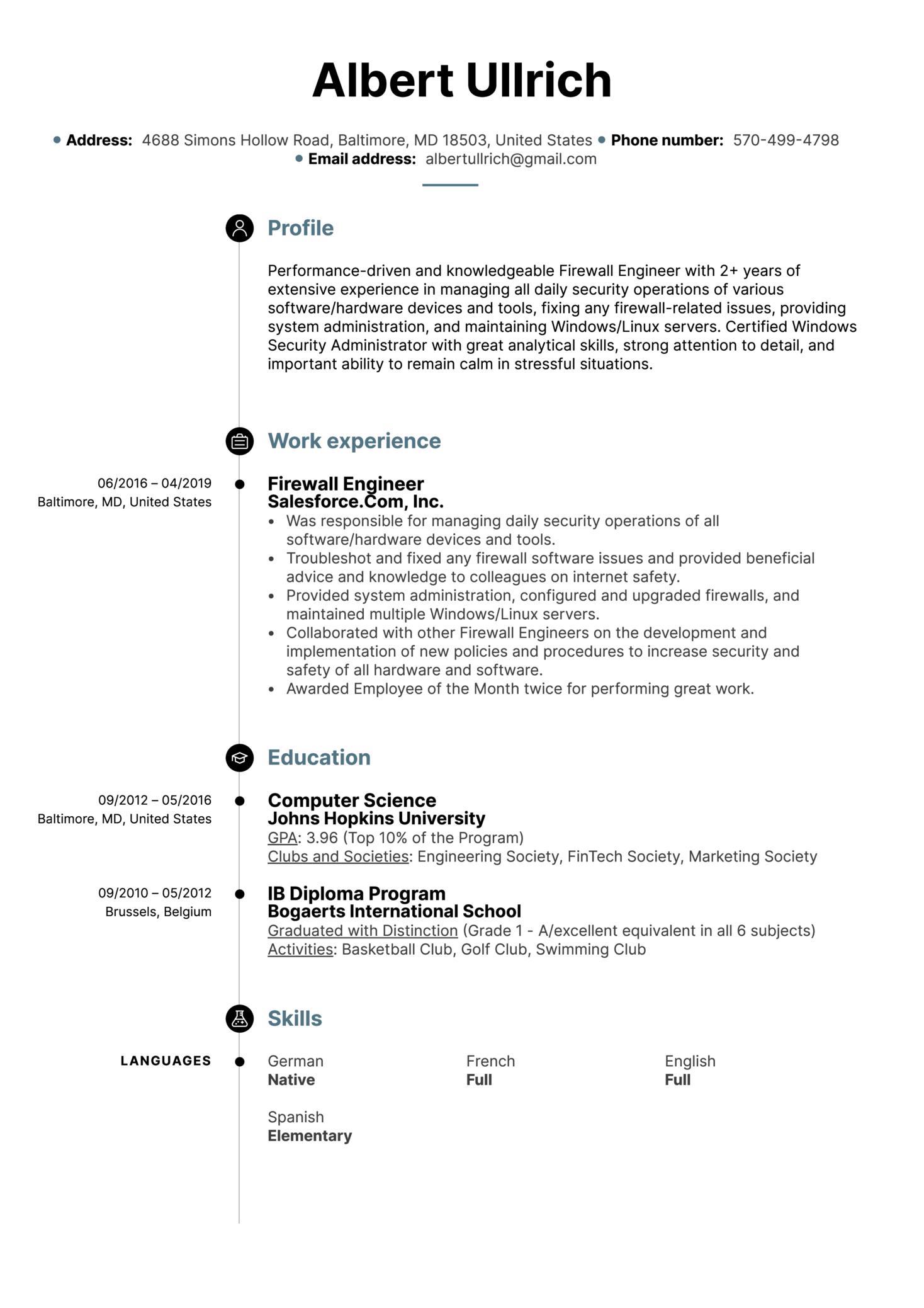 Firewall Engineer Resume Sample (Teil 1)