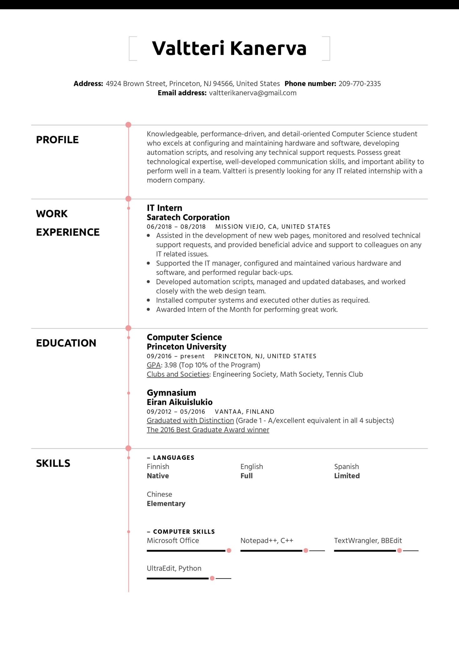 IT Intern Resume Template (Teil 1)