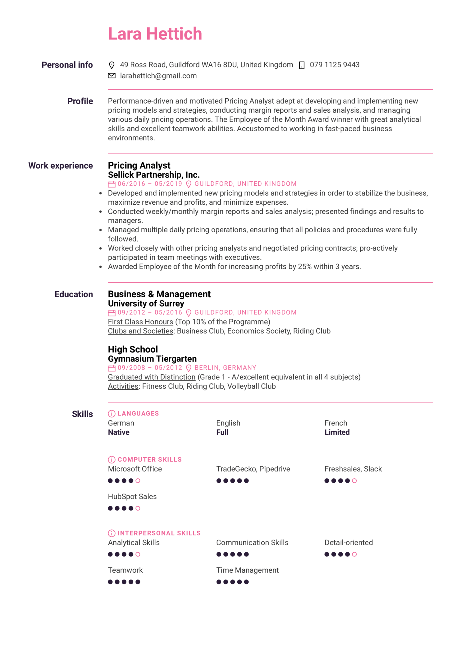 Pricing Analyst Resume Sample (parte 1)
