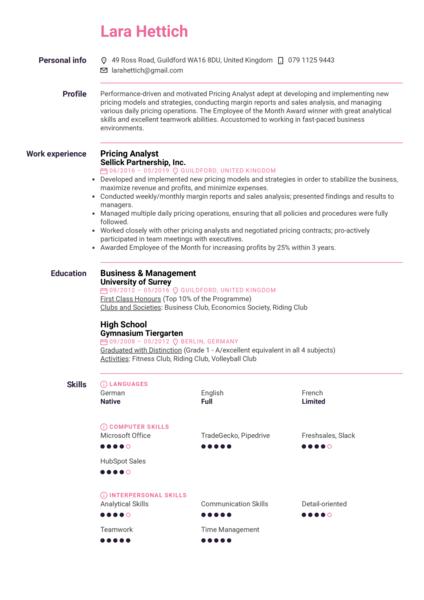 Pricing Analyst Resume Sample