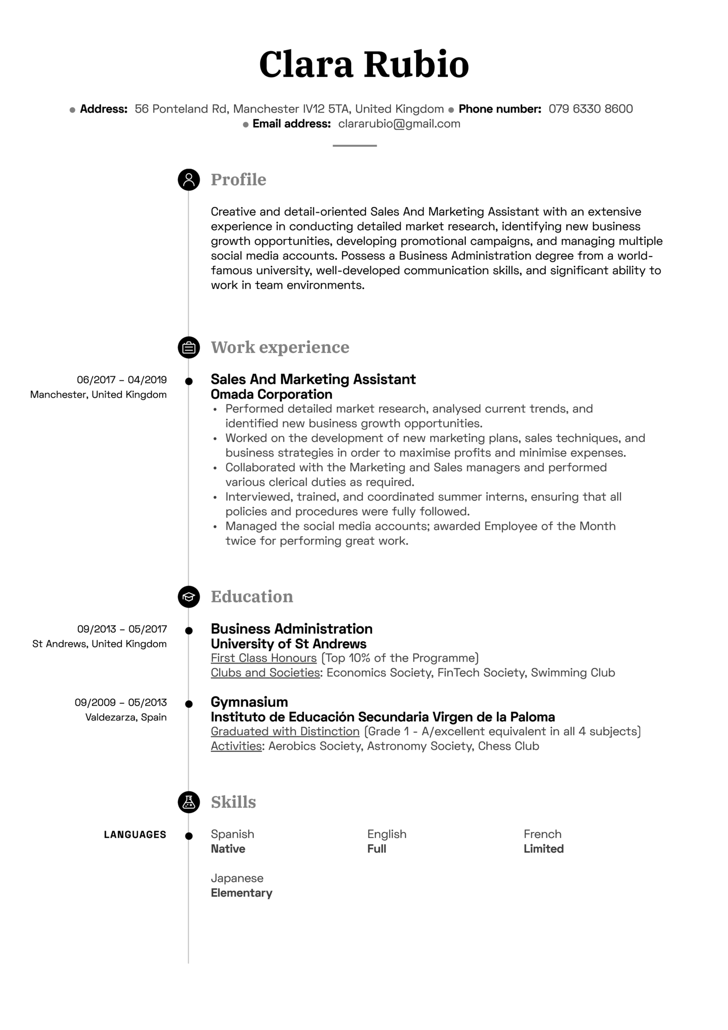 Sales And Marketing Assistant Resume Sample (parte 1)