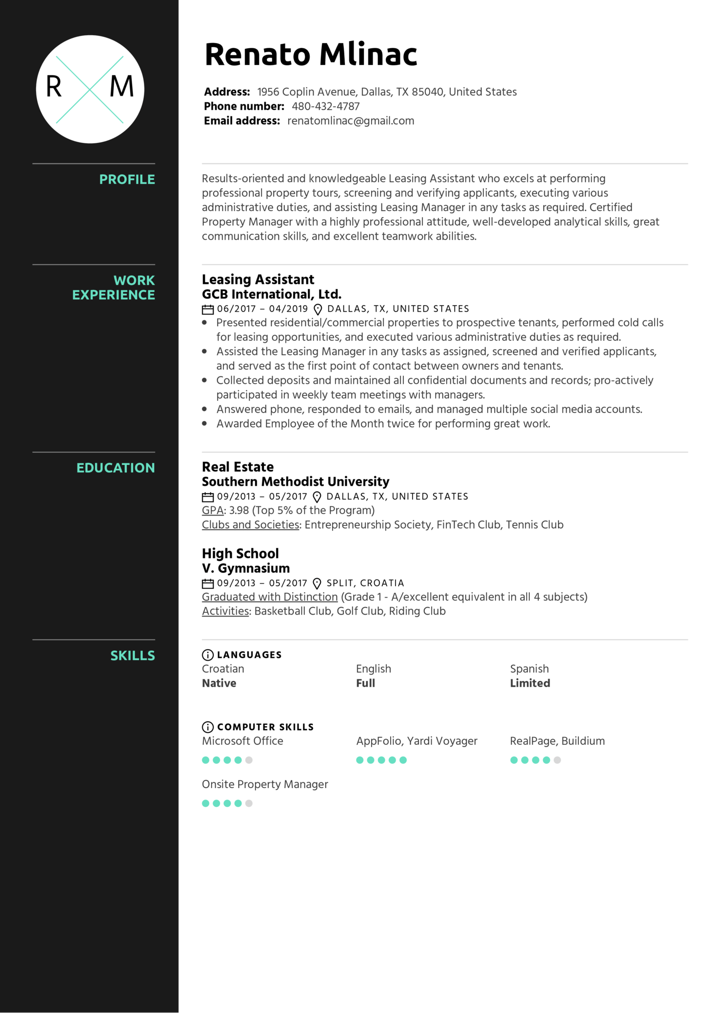 Leasing Assistant Resume Sample (Part 1)