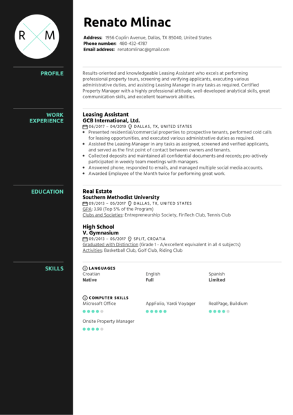 Leasing Assistant Resume Sample