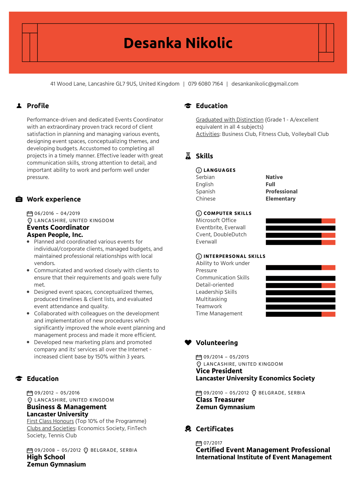 Events Coordinator Resume Example (parte 1)