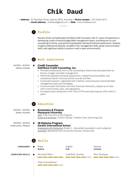 Credit Counselor Resume Example