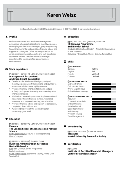 Management Accountant Resume Example