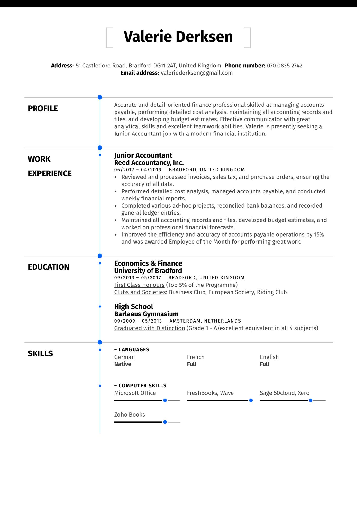 Junior Accountant Resume Sample (Part 1)