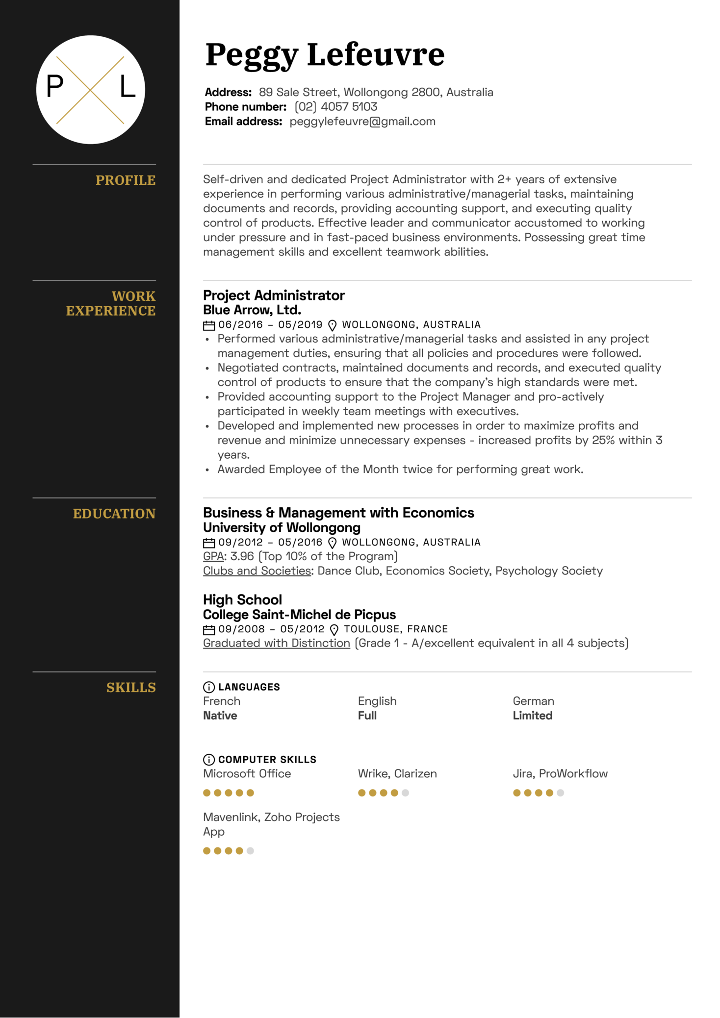 Project Administrator Resume Sample (Part 1)