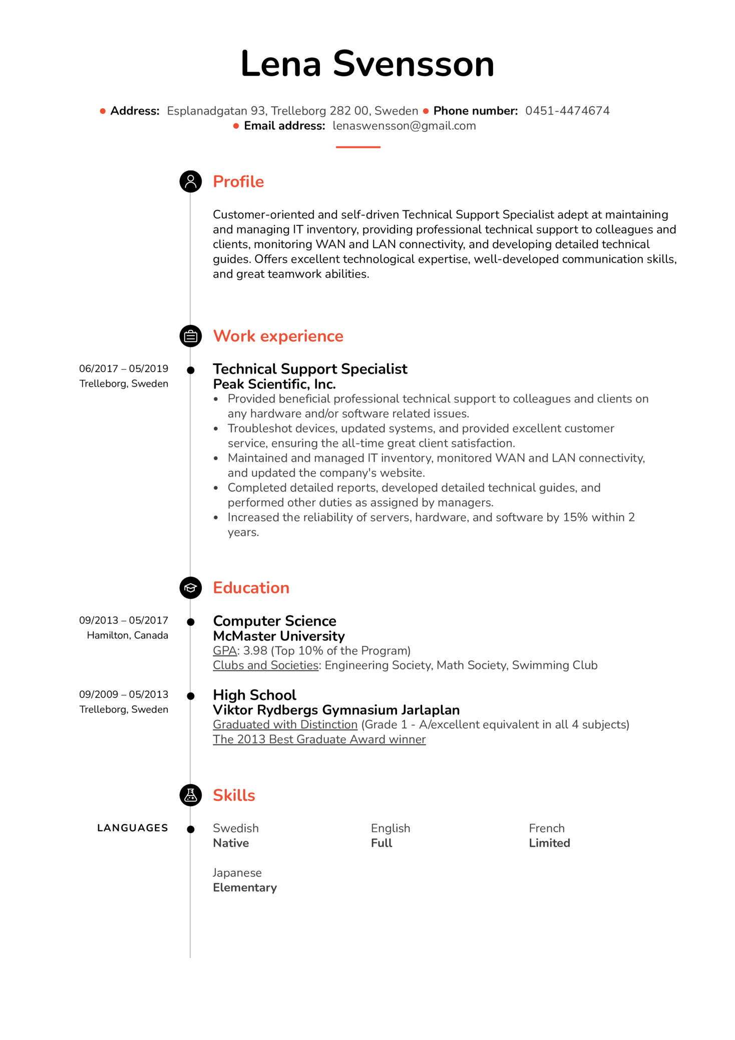 Technical Support Specialist Resume Example (Part 1)