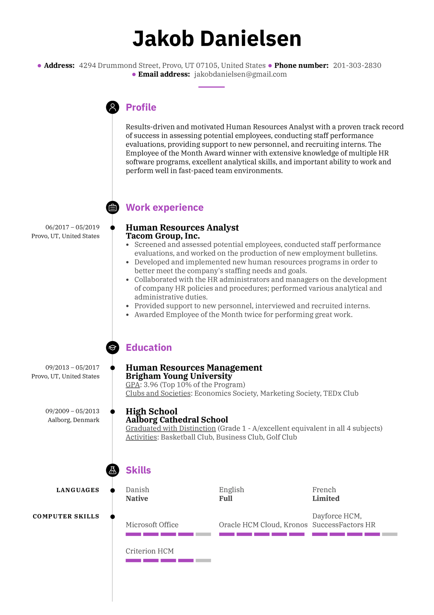 Human Resources Analyst Resume Sample (Parte 1)