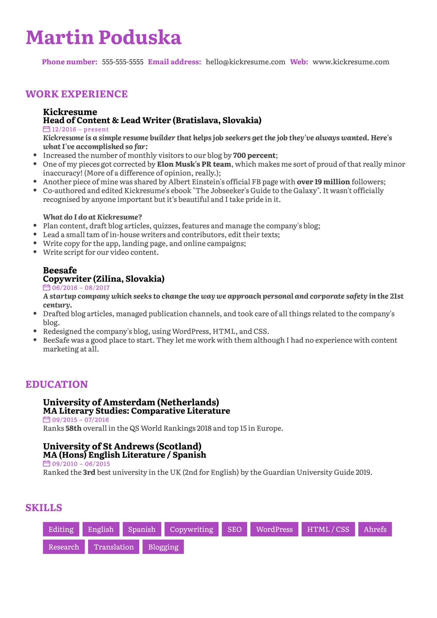 Senior Copywriter Resume Sample (Teil 1)