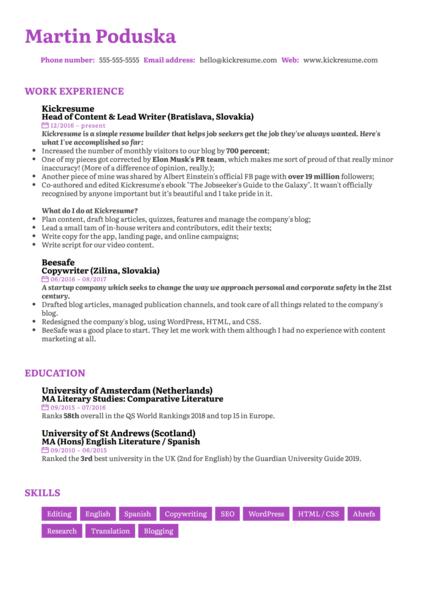 Senior Copywriter Resume Sample