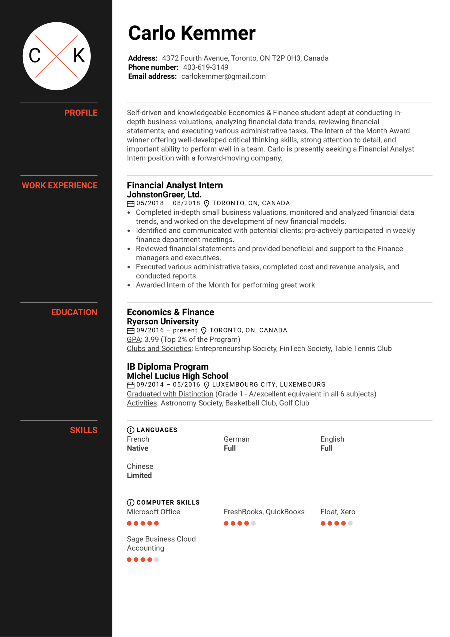 Financial Analyst Intern Resume Example (časť 1)