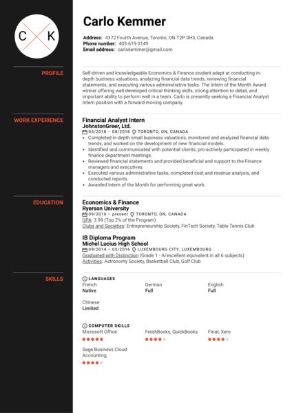 Financial Analyst Intern Resume Example