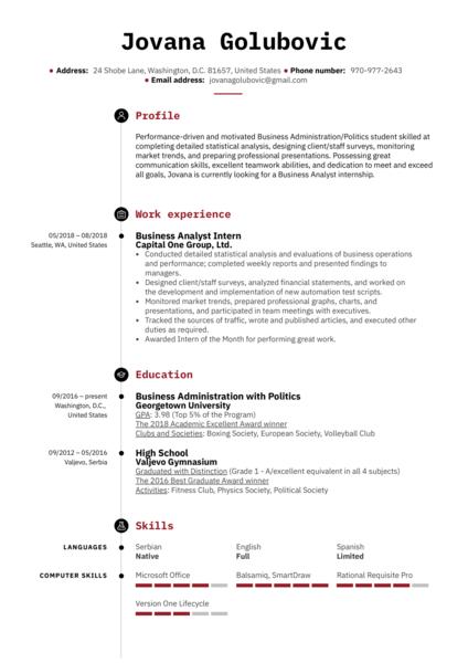 Business Analyst Intern Resume Example