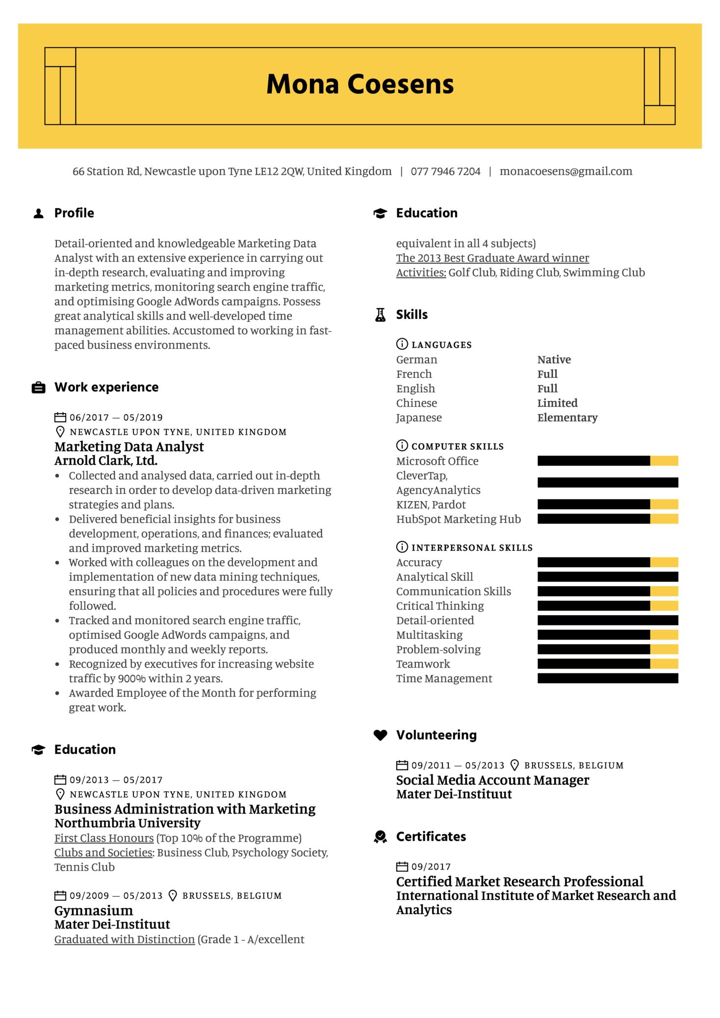 Marketing Data Analyst Resume Sample (Part 1)