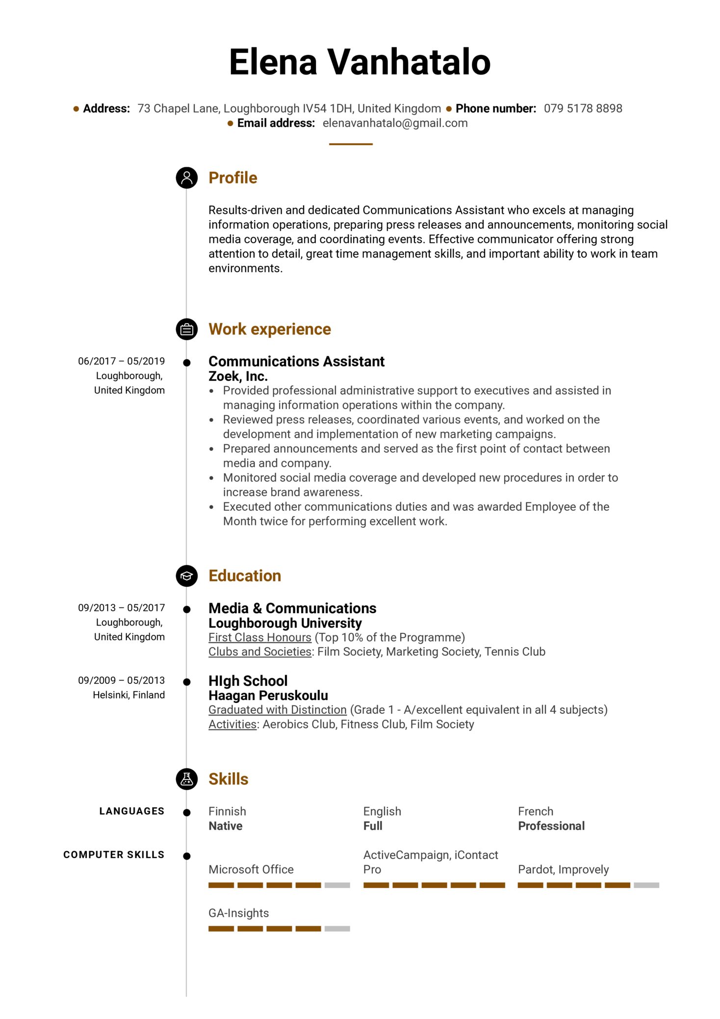 Communications Assistant Resume Example (Parte 1)