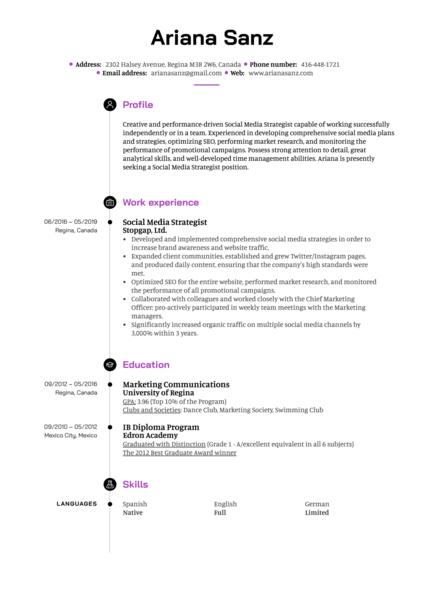 Social Media Strategist Resume Example